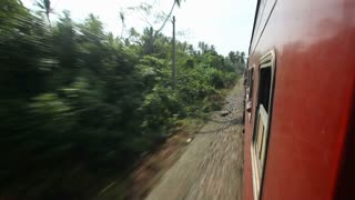 View of Sri Lankan countryside landscape from a moving train.