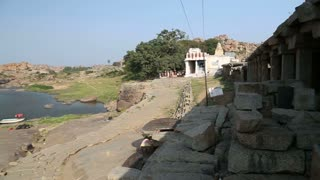 View of the beautiful riverbank in Hampi.