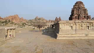 View of the historical ruins of one temple in Hampi.