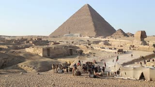 View of tourists and domestic people at pyramids at Giza, Egypt