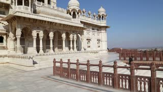 View on facade of Jaswant Thada temple, closeup.