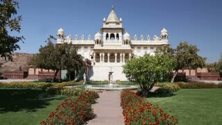 View on fronts of Jaswant Thada temple from outdoor garden.