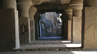 View on outdoor halls and columns of Aurangabad caves.
