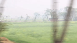 View on rural landscape in Jodhpur from a moving train.