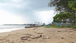 WELIGAMA, SRI LANKA - MARCH 2014: Timelapse view of a beach in Weligama. The term Weligama literally means