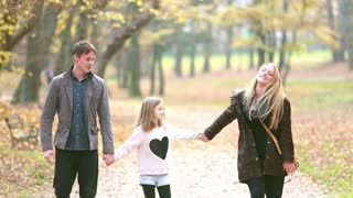 Young family walking in the park, father takes daughter in his arms, graded