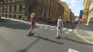 Young people skateboarding in an urban area