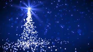 Blue Falling Lights Christmas tree