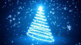 Blue Glowing Light Streaks Christmas Tree