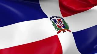 Dominican Republic Waving Flag Background Loop