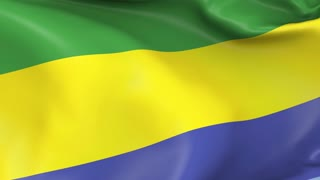 Gabon Waving Flag Background Loop