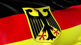 Germany Coat of Arms Waving Flag Background Loop