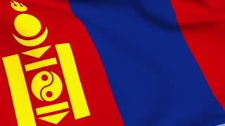 Mongolia Waving Flag Background Loop
