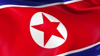 North Korea Waving Flag Background Loop