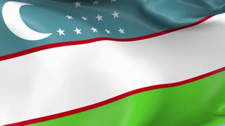 Uzbekistan Waving Flag Background Loop