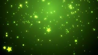 Green Falling Glitter Stars