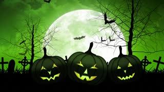 Hallloween Pumpkins with Moon in Green Sky
