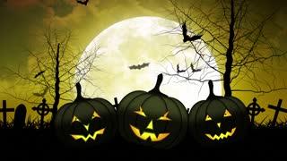 Hallloween Pumpkins with Moon in Yellow Sky
