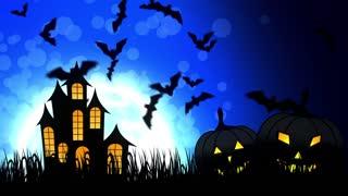 Halloween Castle in Blue Background