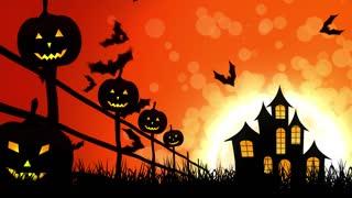 Halloween Castle Pumpkins in Orange Background