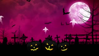 Halloween Ghosts and Cemetery with Pink Sky