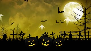 Halloween Ghosts and Cemetery with Yellow Sky