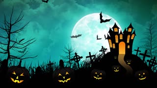 Halloween haunted Castle with Cyan background