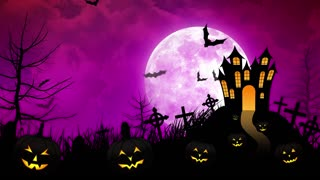 Halloween haunted Castle with Magenta background