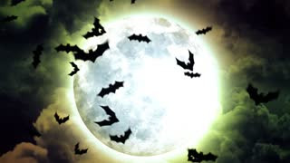 Halloween Moon and bats in Green Sky and Clouds