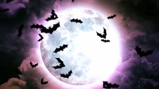 Halloween Moon and bats in Purple Sky and Clouds