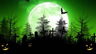 Halloween Moon Over Cemetery in Green Sky