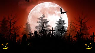 Halloween Moon Over Cemetery in Red Sky