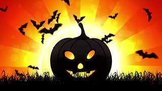 Halloween Pumpkin in Orange Background