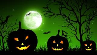 Halloween Pumpkings in Moon Light Green