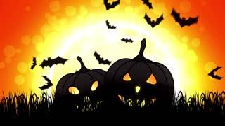 Halloween Pumpkins in Orange Background
