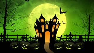 Horror Castle with Moon in Green Background