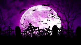Moon Over Cemetery in Purple Sky