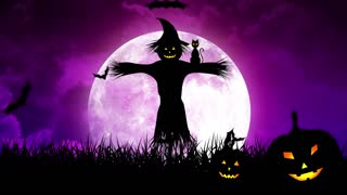 ScareCrow in the Fields and Moon in Purple Sky