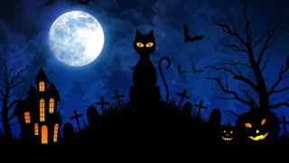Scary Cat and Castle and Moon in Blue Background