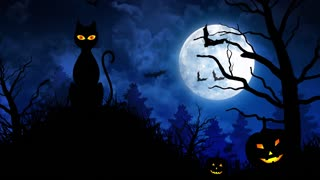 Scary Cat and Moon in Blue Background