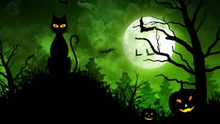 Scary Cat and Moon in Green Background