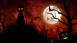 Scary Cat and Moon in Red Background