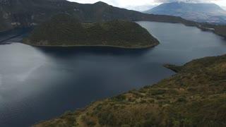 Aerial of Ecuador Collapsed Volcano Crater