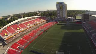 Aerial of empty soccer stadium