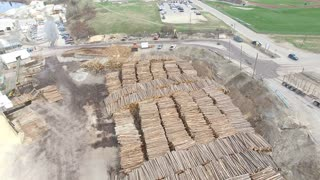 Aerial of Saw Mill and Logging Industry - Forestry and Wood Production
