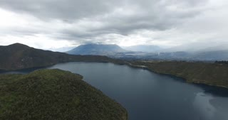 Aerial of The Cuicocha lake - collapsed volcano crater