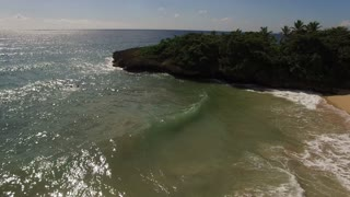 Aerial Pan To Beach In Dominican Republic