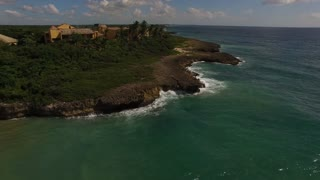 Aerial View Of Dominican Rock Shore Line And Beach