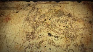 Ancient Map on Papyrus Scroll Paper