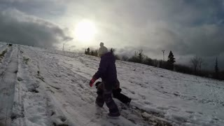 Brother And Sister Playing In The Snow Slow Motion